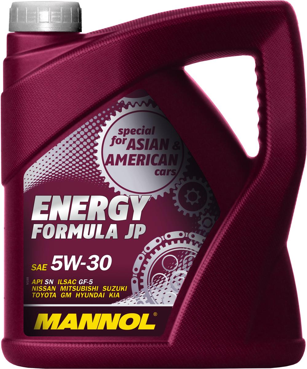 Моторное масло MANNOL Energy Formula JP, 5W30, синтетическое, 4 л80621MANNOL Energy Formula JP – универсальное моторное масло предназначенное для двигателей японских, корейских и американских легковых автомобилей, минивэнов, внедорожников, SUV и микроавтобусов. Разработано специально для двигателей с системами непосредственного впрыска (GDI, D-4D, NEO-DI), с турбонаддувом, а также с различными механизмами изменения фаз газораспределения (DOHC, VVT-i, VTC, CVVT, VTEC, VVL, VVTL-i, MIVEC и др.). Обладает высокими антиокислительными свойствами и превосходными моюще-диспергирующими характеристиками, что предупреждает образование отложений на деталях двигателя. Современный пакет присадок гарантирует прочную смазочную пленку в самых жестких условиях эксплуатации. Обеспечивает легкий пуск двигателя при низких температурах.Допуски и соответствия ILSAC GF-5, GM dexos 1
