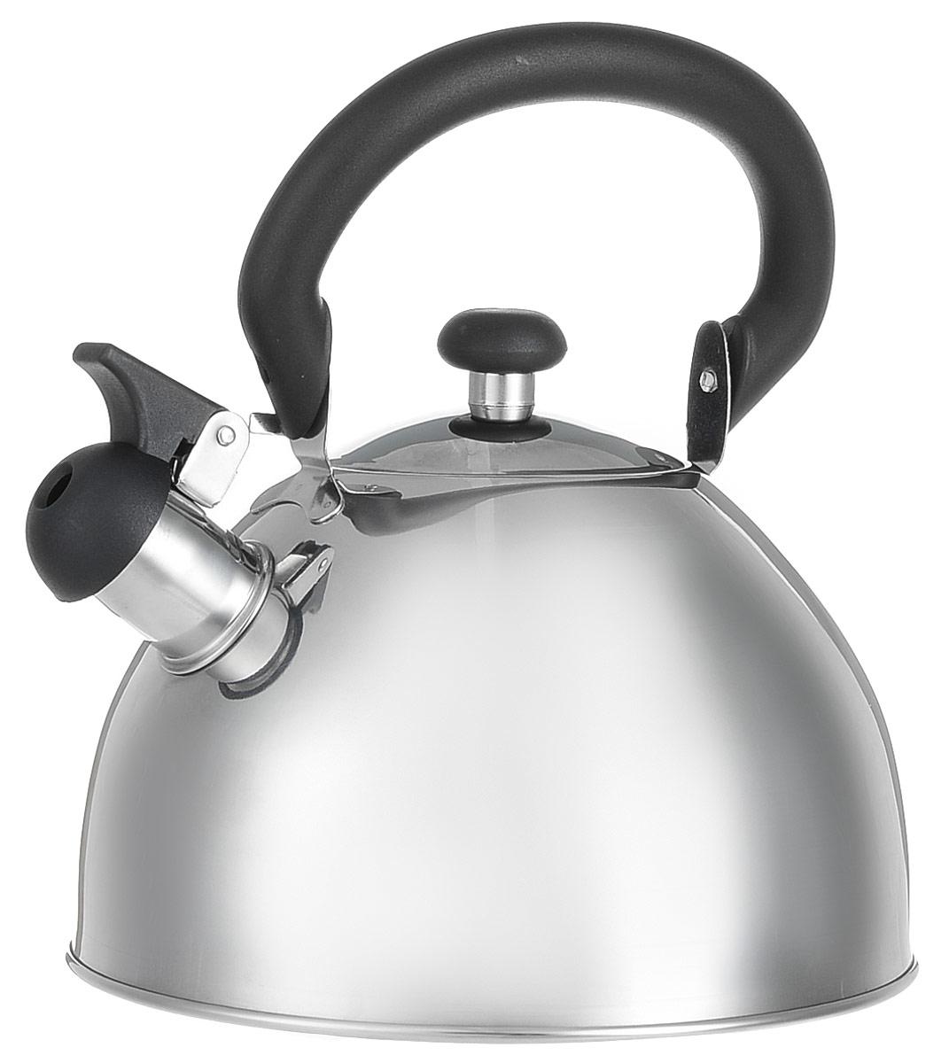 Чайник Appetite со свистком, 2,5 л. HSK-H049VT-1520(SR)Чайник Appetite изготовлен из высококачественной нержавеющей стали с 3-х слойным термоаккумулирующим дном. Нержавеющая сталь обладает высокой устойчивостью к коррозии, не вступает в реакцию с холодными и горячими продуктами и полностью сохраняет их вкусовые качества. Особая конструкция дна способствует высокой теплопроводности и равномерному распределению тепла. Чайник оснащен черной пластиковой удобной ручкой. Носик чайника имеет откидной свисток, звуковой сигнал которого подскажет, когда закипит вода. Чайник Appetite пригоден для использования на всех видах плит, кроме индукционных. Можно мыть в посудомоечной машине. Характеристики:Материал:нержавеющая сталь, пластик. Объем:2,5 л. Диаметр основания чайника: 20 см. Высота чайника (с учетом ручки):24 см. Размер упаковки: 20,5 см х 20,5 см х 16,5 см. Артикул: HSK-H049.
