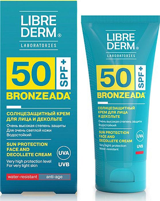 Librederm Bronzeada Крем для лица и зоны декольте солнцезащитный SPF 50, 50 мл8032568-302250Солнцезащитный крем для лица и декольте с очень высоким солнцезащитным фактором SPF50. Крем с UVA и UVB фильтрами надежно защищает кожу от губительного воздействия солнечных лучей и предотвращает преждевременное старение. Позволяет дольше наслаждаться пребыванием на солнце и обрести красивый загар.