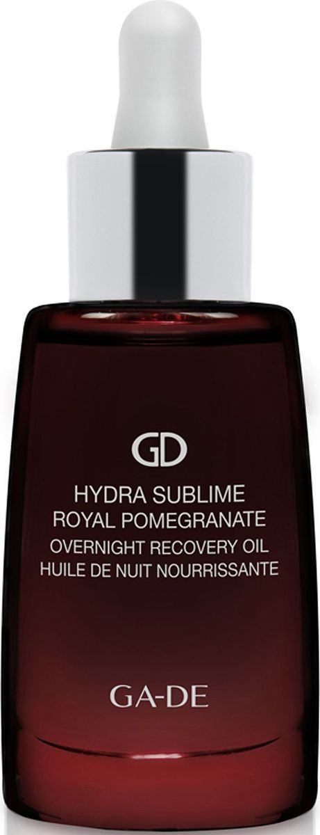 GA-DE Ночное восстанавливающее масло Hydra Sublime Royal Pomegranate, 30 млFS-00897Шелковистое масло мгновенно впитывается в кожу, придавая ей мягкость, гладкость и бархатистость и обеспечивая необходимой защитой.Прошло дерматологическое тестирование. Это комплекс из 5 натуральных питательных масел для глубокого восстановления, смягчения кожи.• Масло макадамии: натуральное, богатое питательными веществами масло, содержащее высокий процент пальмитолеиновой кислоты, придает коже гладкость и обеспечивает ее важными питательными элементами.• Масло энотеры: масло семян энотеры богато жирными кислотами Омега-6, которые помогают уменьшить трансэпидермальную потерю влаги и обеспечивают продолжительный увлажняющий эффект.• Сквален: питательное растительное масло, полученное из оливок, богато фито-липидами, которые защищают кожу от потери влаги, укрепляют защитный увлажняющий барьер, придавая коже более молодой вид. Натуральные смягчающие липиды укрепляют кожу и защищают ее от воздействия агрессивных факторов окружающей среды.• Масло семян бурачника: богато жирными кислотами, обладает целебными противовоспалительными свойствами, эффективно смягчает кожу.• Масло семян малины: богато витаминами Е и А, а также жирными кислотами Омега-3 и Омега-6, способствующими омоложению кожи.