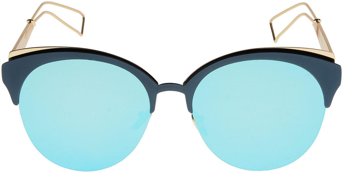 Очки солнцезащитные женские Taya, цвет: золотистый, зеленый. S-O-0084INT-06501Кошачий глаз, ультрафиолетовый фильтр, зеркальные. Габариты предмета: высота линзы 5,0 см; ширина линзы 5,6 см; длина дужки 15,0 см