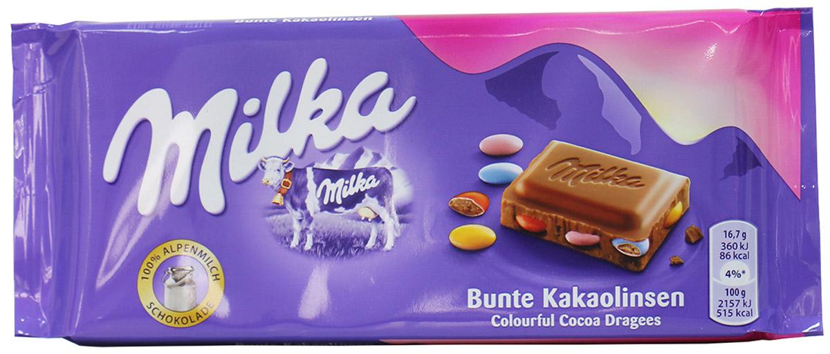 Milka m&ms, молочный шоколад с разноцветными какао-драже, 100 г0120710В честь своего Дня Рождения Милка выпустила альпийский молочный шоколад Milka Kakaolinsen M&ms. Вы почувствует великолепный, настоящий вкус молочно-альпийского шоколад Milka. А приятное похрустывание сладчайших разноцветных M&ms придаст Вам яркое настроение.