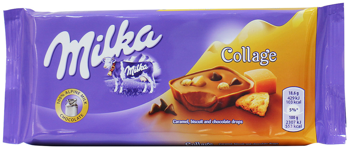 Milka Шоколад Сollage Fudge, молочный шоколад с кусочками печенья, карамели и шоколадными каплями, 93 г0120710Milka (Милка) Collage Fudge - шоколадный коллаж из карамели, печенья и капелек темного шоколада, созданный для удовольствия. Любимая всеми карамель-тянучка, темный шоколад вперемешку с молочным шоколадом и все это дополнено хрустящими печеньками. Аппетитно? Еще бы, но словами вкус не передать, - Milka Collage Fudge нужно обязательно попробовать.