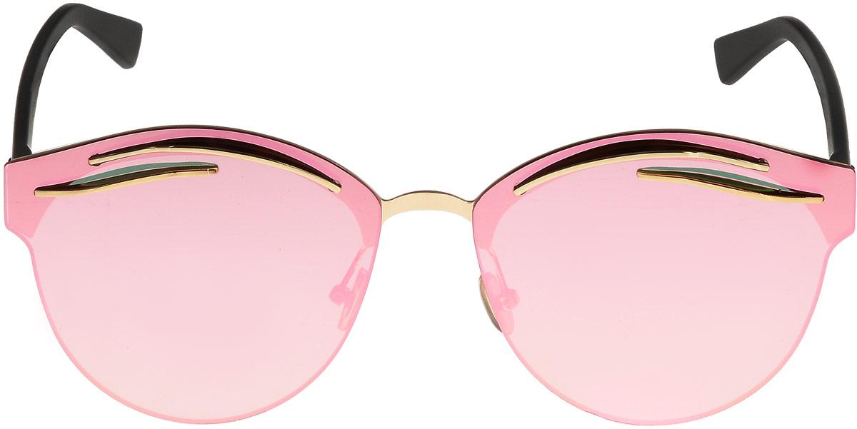 Очки солнцезащитные женские Taya, цвет: золотистый, розовый. S-O-01021-022_516Кошачий глаз, ультрафиолетовый фильтр, зеркальные. Габариты предмета: высота линзы 5,4 см; ширина линзы 6,0 см; длина дужки 13,0 см