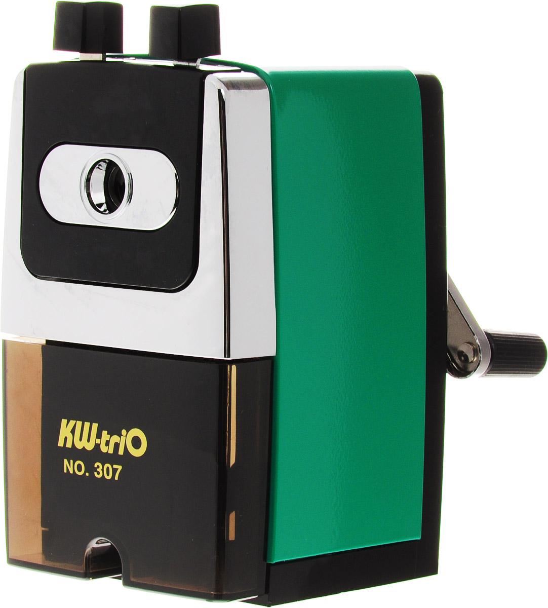 KW-trio Точилка 307A цвет зеленый307AgrnТочилка KW-trio 307A хорошо точит любые карандаши.Она пригодится любому студенту или школьнику. Максимальный диаметр карандаша до 8мм.также точилка оснащена контейнером для стружки и струбцина для крепления к столу.
