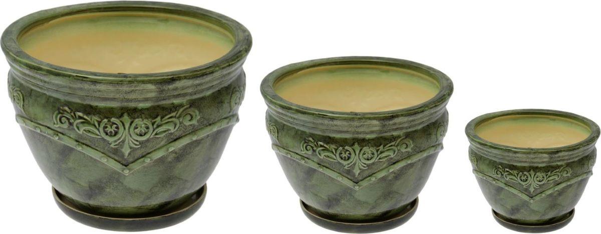 Набор кашпо Прага, цвет: зеленый, 3 предметаNLED-454-9W-WНабор кашпо Прага зеленый: 10л, 3,2л, 1л 1765964