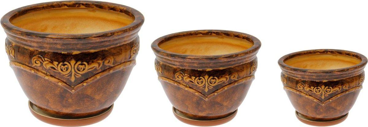 Набор кашпо Прага, цвет: коричневый, 3 предмета531-105Набор кашпо Прага коричневый: 10л, 3,2л, 1л 1765965