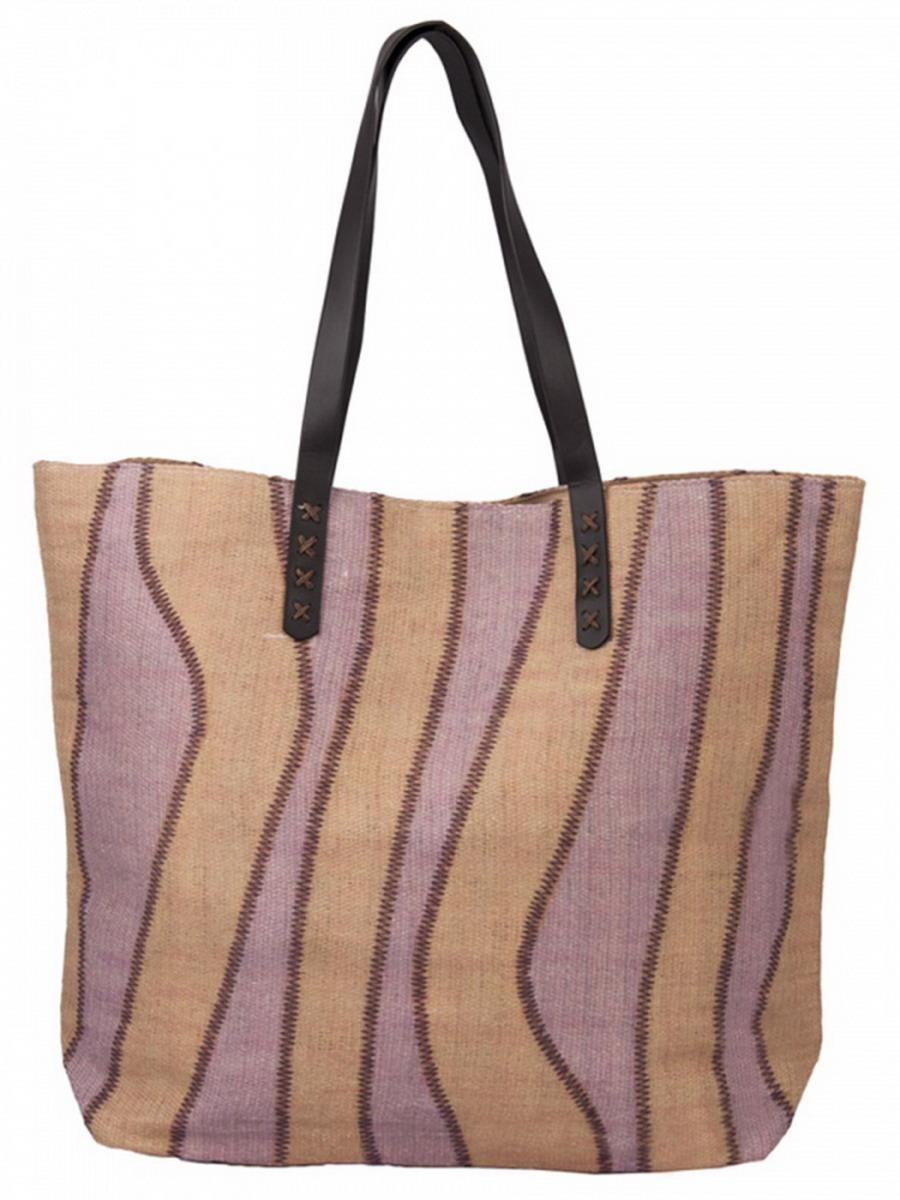 Сумка женская Venera, цвет: бежевый, сиреневый, коричневый. 1202156-210130-11Милая сумка Venera розово - бежевого цвета, размером 39х50х14 см изготовлена из полиэстера - прочного материала, не пропускающего влагу. Сумка - это важнейшая часть женского гардероба. Она является как модным аксессуаром, так и удобным, вместительным изделием для необходимых вещей.