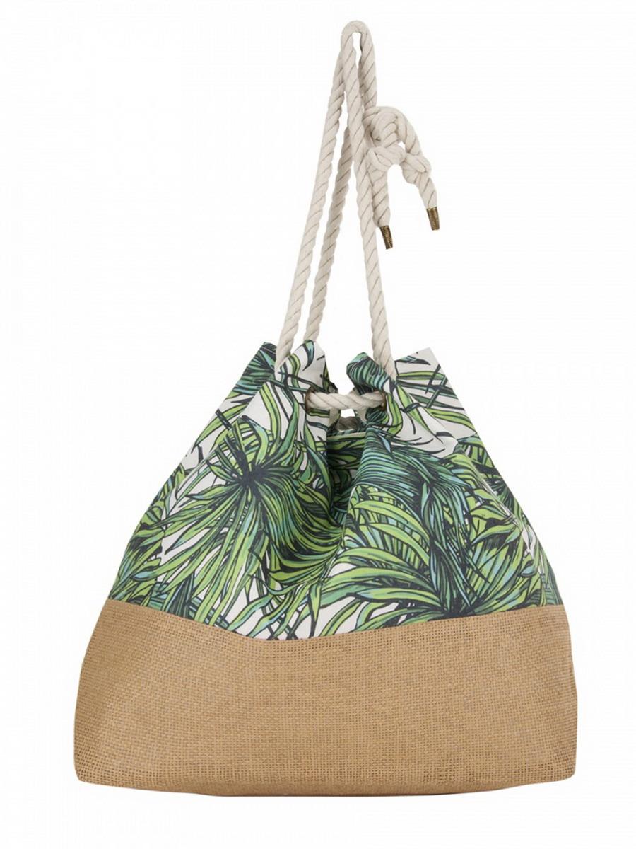 Сумка женская Venera, цвет: зеленый, салатовый, бежевый, белый. 1202256-171069с-2Яркая сумка Venera бежево - зеленого цвета, размером 37х54х20 см изготовлена из полиэстера - прочного материала, не пропускающего влагу. Удобная ручка в виде веревки и стильный растительный принт. Сумка - это важнейшая часть женского гардероба. Она является как модным аксессуаром, так и удобным, вместительным изделием для необходимых вещей.