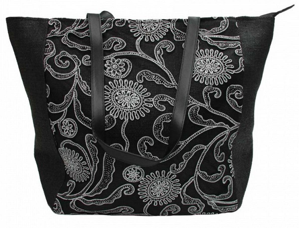 Сумка женская Venera, цвет: черный, белый. 1202856-1579995-400Роскошная сумка Venera изготовлена из полиэстера - прочного материала, не пропускающего влагу. Сумка это важнейшая часть женского гардероба, она является как модным аксессуаром, так и удобным вместительным изделием для необходимых вещей.