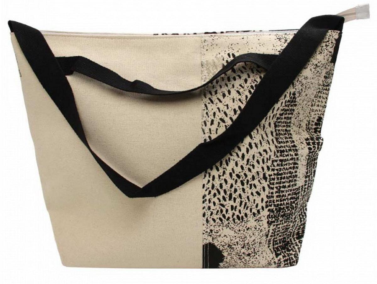 Сумка женская Venera, цвет: бежевый, черный. 1202956-1KV996OPY/MЖенская сумка Venera черно-белого цвета с оригинальным принтом, размером 41х54х17см. Изготовлена из полиэстера прочного материала непропускающего влагу. Сумка это важнейшая часть женского гардероба, она является как модным аксессуаром так и удобным вместительным изделием для необходимых вещей.