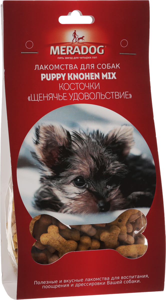 Лакомство для собак Meradog Puppy Knochen Mix. Щенячье удовольствие, 150 г943410Лакомства Meradog - это восхитительное хрустящее печенье, которое не оставит равнодушным ни одну собаку. Лакомства Meradog всегда помогут сделать вашего питомца счастливым, а особый вкус и аромат обязательно доставят ему море удовольствия, и он попросит еще. Лакомства идеально подойдут в качестве угощения и для дрессировки. Воспитание и дрессировка с вкусняшками Meradog приведут вас к цели быстрее, чем вы думаете.Лакомства для собак Meradog - это:- Полезные добавки к основному питанию.- Витамины и минералы, способствующие восстановлению баланса питательных веществ и укреплению здоровья собаки.- Отличная профилактика образования зубного камня и заболеваний полости рта.Побалуйте свою собаку - подарите ей заботу с Meradog.Состав: злаки, мясо и мясные субпродукты, масла и жиры, овощные субпродукты, минералы.Товар сертифицирован.