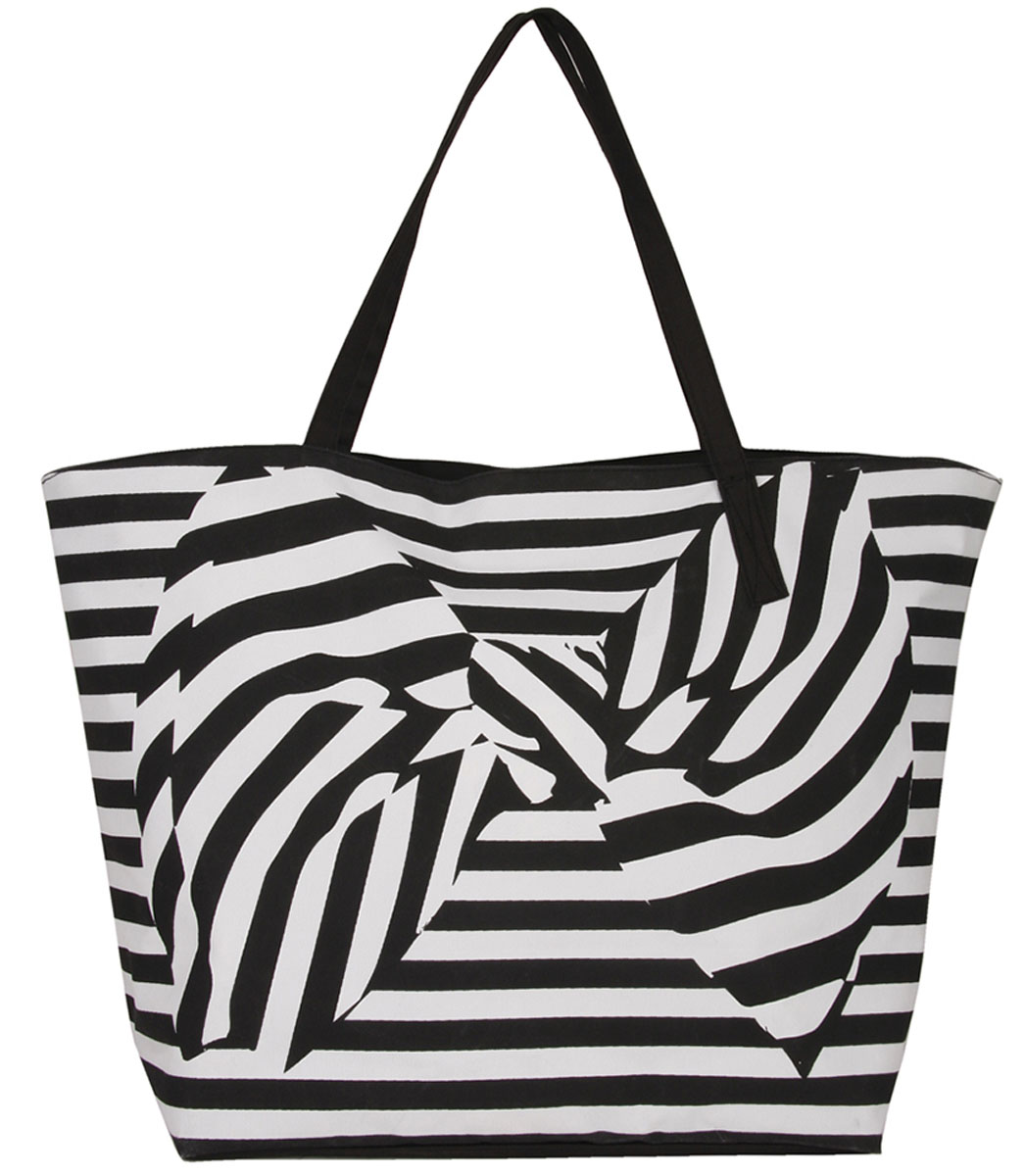 Сумка женская Venera, цвет: черный, белый. 1203256-1KV996OPY/MСтильная сумка Venera выполнена в черно - белом цвете из качественного полиэстера. Изделие декорировано бантом и полосатым принтом. Удобный аксессуар для пляжного отдыха и для прогулок.