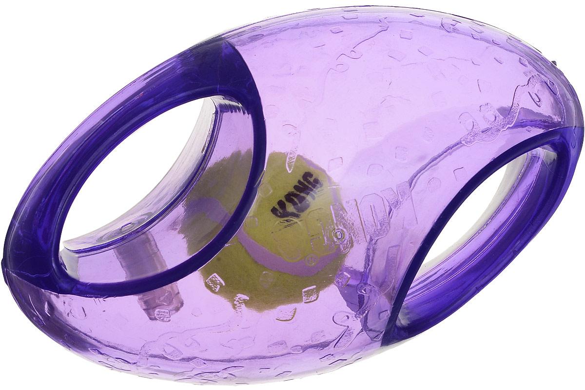 Игрушка для собак Kong Регби, с пищалкой, цвет: прозрачный, фиолетовый, 18 х 9 х 9 см0120710Игрушка для собак Kong Регби, выполненная извысококачественной синтетической резины, представляетсобой мяч для регби 2 в 1.Теннисный мяч, расположенный внутри, гремит и будетпривлекать внимание вашего питомца, побуждая достать его.Просто потрясите игрушку. Удобные ручки служат дляподнятия игрушки. Также изделие оснащено пищалкой.С такой игрушкой вы сможете играть в захватывающие иактивные игры с вашей собакой. Она прекрасно подходит дляживотных среднего и крупного размера, с сильными челюстямии для использования в качестве дрессировочного предмета.