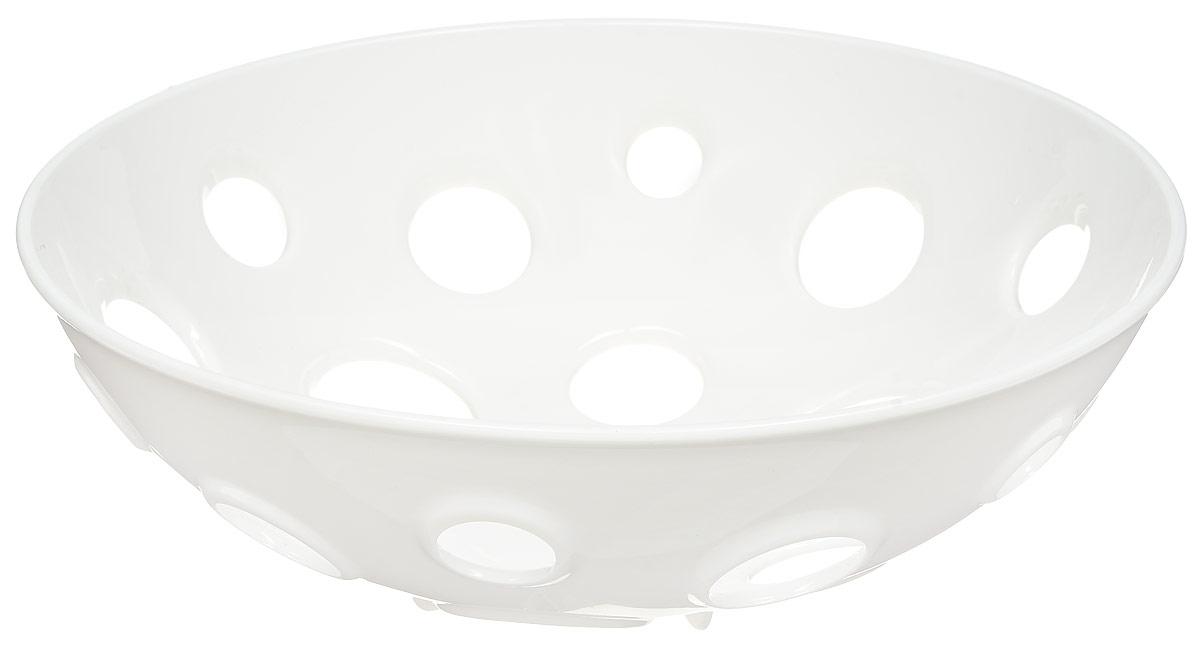 Миска для фруктов и овощей Tescoma Vitamino, глубокая, цвет: белый, диаметр 28 см54 009312Глубокая миска Tescoma Vitamino выполнена из высококачественного прочного пластика.Изделие прекрасно подходит для хранения свежих овощей и фруктов, например, яблок, груш,слив, мандаринов, помидоров, а также для ополаскивания их под проточной водой. Мискаоснащена большими отверстиями для максимального доступа воздуха к хранимым продуктам.Фрукты и овощи в таком изделии дозревают естественным путем и дольше остаются свежими.Подходит для холодильника и посудомоечной машины.Размер миски: 28 х 28 х 9 см.