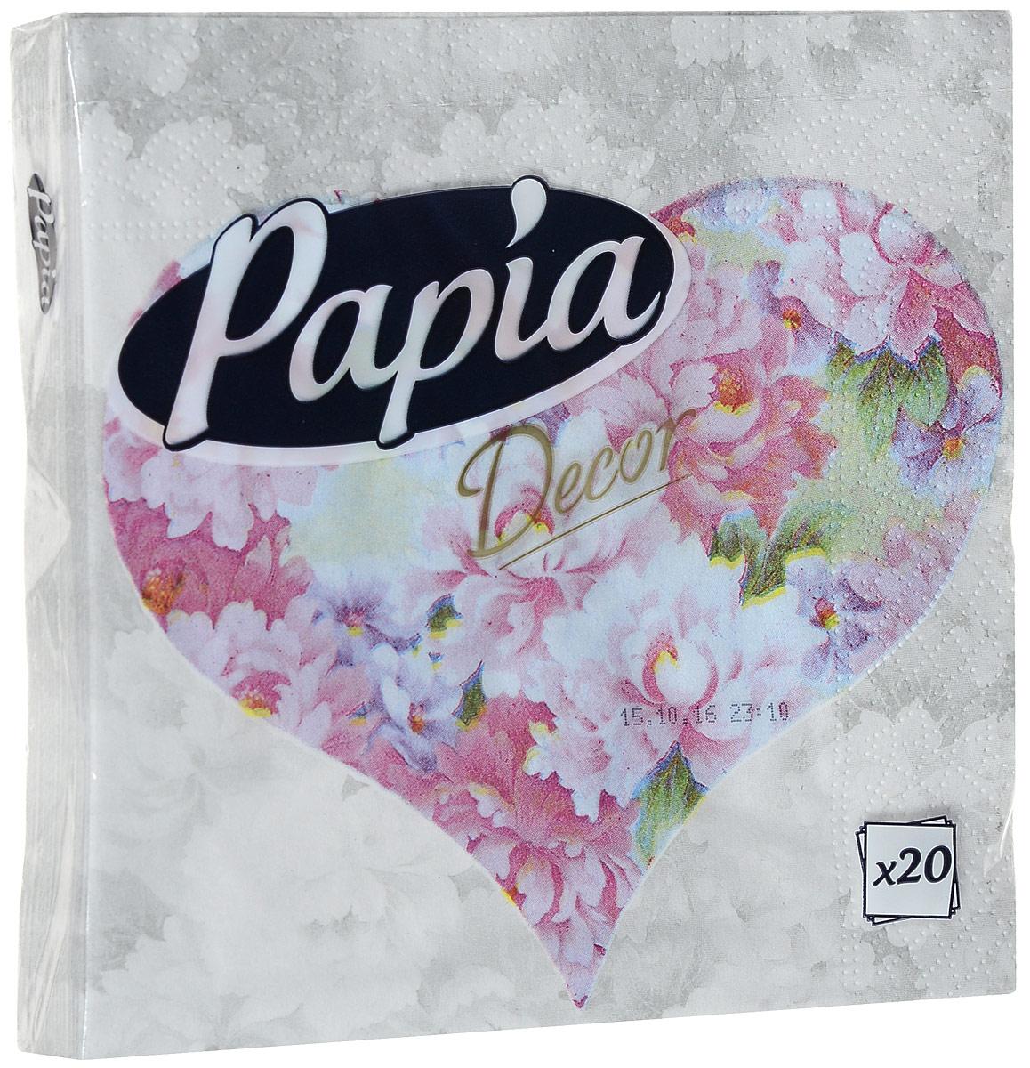 Салфетки бумажные Papia Decor, трехслойные, цвет: розовые пионы, 33 х 33 см, 20 шт787502Трехслойные салфетки Papia Decor, выполненные из 100% целлюлозы, оформлены красивым рисунком. Салфетки предназначены для красивой сервировки стола. Оригинальный дизайн салфеток добавит изысканности вашему столу и поднимет настроение. Размер салфеток: 33 см х 33 см.