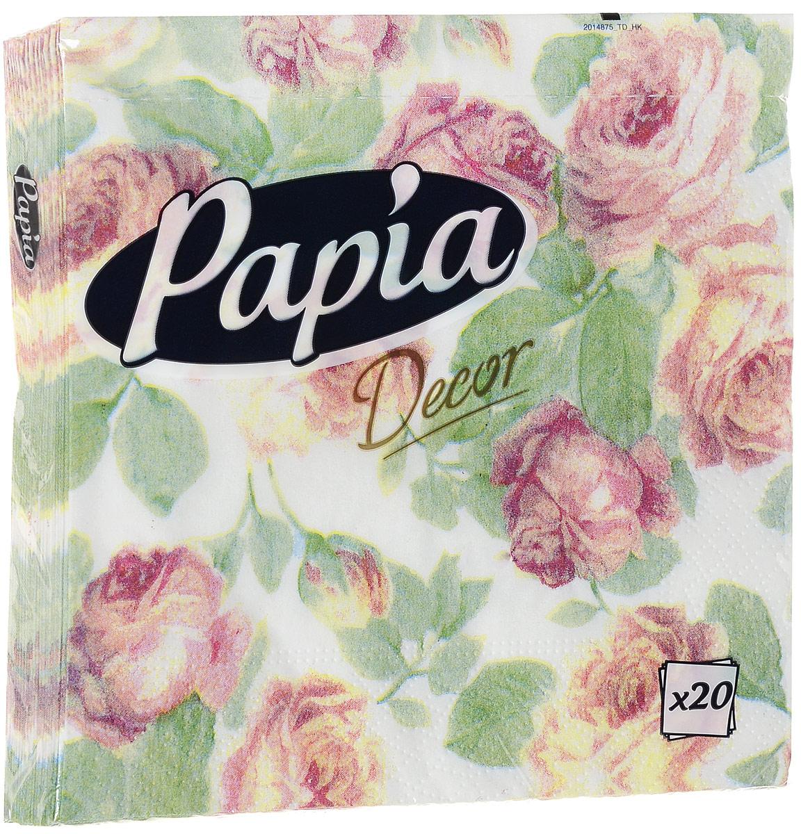 Салфетки бумажные Papia Decor, трехслойные, цвет: розовые розы, 33 х 33 см, 20 штSZ-14Трехслойные салфетки Papia Decor, выполненные из 100% целлюлозы, оформлены красивым рисунком. Салфетки предназначены для красивой сервировки стола. Оригинальный дизайн салфеток добавит изысканности вашему столу и поднимет настроение. Размер салфеток: 33 см х 33 см.