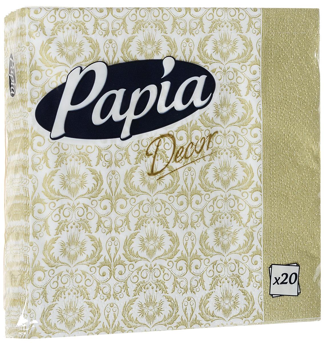 Салфетки бумажные Papia Decor, трехслойные, цвет: золотой, 33 х 33 см, 20 шт1899Трехслойные салфетки Papia Decor, выполненные из 100% целлюлозы, оформлены красивым рисунком. Салфетки предназначены для красивой сервировки стола. Оригинальный дизайн салфеток добавит изысканности вашему столу и поднимет настроение. Размер салфеток: 33 см х 33 см.
