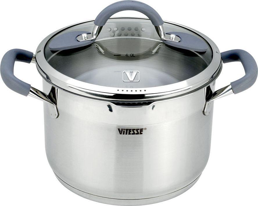 Кастрюля Vitesse UniQ с крышкой, 5,7л. VS-2116VS-2116Кастрюля Vitesse UniQ, изготовленный из высококачественной нержавеющей стали 18/10 с зеркальной полировкой верхней части и матовой полировкой нижней части. Она прекрасно подойдет для вашей кухни. Особенности кастрюли Vitesse UniQ: Кастрюля имеет многослойное термоаккумулирующее дно с прослойкой из алюминия, что обеспечивает равномерное распределение тепла.На внутренней стороне кастрюли имеется шкала литража, что обеспечивает дополнительное удобство при приготовлении пищи.Литые ручки из нержавеющей стали с силиконовым покрытием обеспечивают удобство при эксплуатации.Прозрачная крышка из термостойкого стекла с ободком из силикона. Позволяет беззвучно закрывать крышку и следить за процессом приготовления. Крышка имеет 4 варианта положения: - полный слив; - слив через мелкий фильтр; - слив через крупный фильтр; - закрыто. На кромке кастрюли имеется носик для слива воды.Кастрюля подходит для газовых, электрических, стеклокерамических и индукционных плит и пригоден для мытья в посудомоечной машине. Характеристики: Материал:нержавеющая сталь, алюминий, стекло, силикон. Объем:5,7 л. Внешний диаметр:24 см. Внутренний диаметр:22 см. Высота стенки:15,5 см. Ширина кастрюли, с учетом ручек:32 см. Размер коробки:31 см х 25 см х 19 см. Изготовитель:Китай. Артикул:VS-2116. Кухонная посуда марки Vitesseиз нержавеющей стали 18/10 предоставит вам все необходимое для получения удовольствия от приготовления пищи и принесет радость от его результатов. Посуда Vitesse обладает выдающимися функциональными свойствами. Легкие в уходе кастрюли и сковородки имеют плотно закрывающиеся крышки, которые дают возможность готовить с малым количеством воды и экономией энергии, и идеально подходят для всех видов плит: газовых, электрических, стеклокерамических и индукционных. Конструкция дна посуды гарантирует быстрое поглощение тепла, его равномерное распределение и сохранение. Великолепно отполированная поверхность, а также многочисленные конструкт