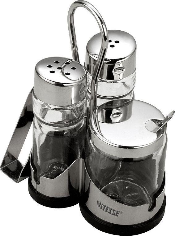 Набор для специй Vitesse OrvaVT-1520(SR)Набор для специй Orva, изготовленный из высококачественной нержавеющей стали 18/10 с зеркальной полировкой и стекла, состоит из солонки, перечницы, емкости под горчицу, ложечки и подставки с салфетницей. Крышки емкостей снабжены резьбой, которая обеспечивает плотное прилегание крышки, и позволяет долгое время сохранить специи свежими. Набор пригоден для мытья в посудомоечной машине. Характеристики:Диаметр солонки, перечницы:3 см.Высота солонки, перечницы:9 см.Диаметр емкости под горчицу:4,5 см.Высота емкости под горчицу:6,3 см.Материал:нержавеющая сталь, стекло.Артикул:VS-1253.Кухонная посуда марки Vitesseиз нержавеющей стали 18/10 предоставит Вам все необходимое для получения удовольствия от приготовления пищи и принесет радость от его результатов. Посуда Vitesse обладает выдающимися функциональными свойствами. Легкие в уходе кастрюли и сковородки имеют плотно закрывающиеся крышки, которые дают возможность готовить с малым количеством воды и экономией энергии, и идеально подходят для всех видов плит: газовых, электрических, стеклокерамических и индукционных. Конструкция дна посуды гарантирует быстрое поглощение тепла, его равномерное распределение и сохранение. Великолепно отполированная поверхность, а также многочисленные конструктивные новшества, заложенные во все изделия Vitesse, позволит Вам открыть новые горизонты приготовления уже знакомых блюд. Для производства посуды Vitesseиспользуются только высококачественные материалы, которые соответствуют международным стандартам.