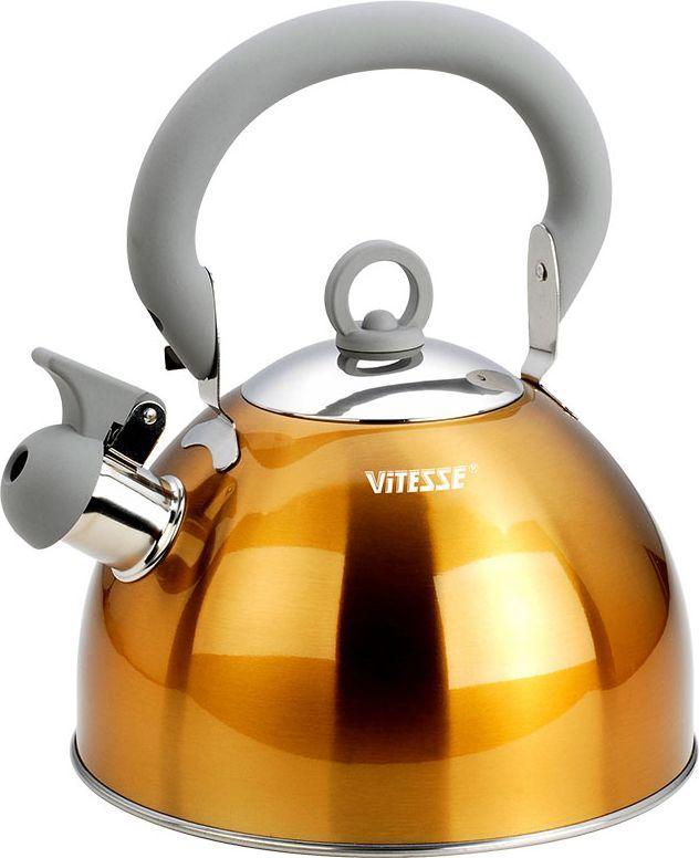 Чайник Vitesse Hanya со свистком, цвет: желтый, 2,5 л115510Чайник Vitesse Hanya выполнен из высококачественной нержавеющей стали 18/10. Капсулированное дно с прослойкой из алюминия обеспечивает наилучшее распределение тепла. Носик чайника оснащен откидной насадкой-свистком, что позволит вам контролировать процесс подогрева или кипячения воды. Чайник имеет элегантное цветное покрытие корпуса. Подвижная ручка чайника изготовлена из нержавеющей стали с силиконовым покрытием. Чайник Vitesse Hanya подходит для использования на всех типах плит. Также изделие можно мыть в посудомоечной машине. Характеристики: Материал: нержавеющая сталь 18/10, силикон.Диаметр основания чайника: 20 см.Высота чайника (с учетом крышки и ручки):25 см.Объем:2,5 л.Размер упаковки:20,5 см х 20,5 см х 17,5 см. Изготовитель:Китай. Артикул:VS-1114.Кухонная посуда марки Vitesseиз нержавеющей стали 18/10 предоставит вам все необходимое для получения удовольствия от приготовления пищи и принесет радость от его результатов. Посуда Vitesse обладает выдающимися функциональными свойствами. Легкие в уходе кастрюли и сковородки имеют плотно закрывающиеся крышки, которые дают возможность готовить с малым количеством воды и экономией энергии, и идеально подходят для всех видов плит: газовых, электрических, стеклокерамических и индукционных. Конструкция дна посуды гарантирует быстрое поглощение тепла, его равномерное распределение и сохранение. Великолепно отполированная поверхность, а также многочисленные конструктивные новшества, заложенные во все изделия Vitesse, позволит вам открыть новые горизонты приготовления уже знакомых блюд. Для производства посуды Vitesseиспользуются только высококачественные материалы, которые соответствуют международным стандартам.