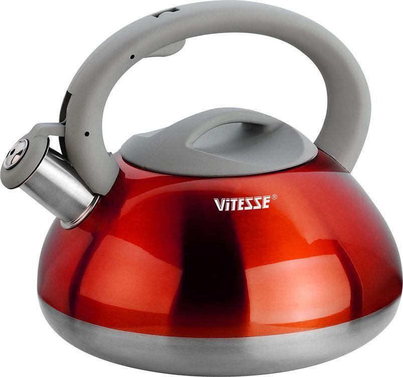 Чайник Vitesse Berit со свистком, цвет: красный, 2,7 лVS-8631Чайник Vitesse Berit выполнен из высококачественной нержавеющей стали 18/10. Носик чайника оснащен откидной насадкой-свистком, что позволит вам контролировать процесс подогрева или кипячения воды. Чайник имеет элегантное цветное покрытие корпуса. Ручка чайника изготовлена из нержавеющей стали с силиконовым покрытием. Она имеет фиксированное положение. Чайник Vitesse Berit подходит для использования на всех типах плит. Также изделие можно мыть в посудомоечной машине. Характеристики: Материал: нержавеющая сталь 18/10, силикон.Диаметр основания чайника: 20 см.Высота чайника (с учетом крышки и ручки):19 см.Объем:2,7 л.Размер упаковки:22,5 см х 22,5 см х 21 см. Изготовитель:Китай. Артикул:VS-1115.Кухонная посуда марки Vitesseиз нержавеющей стали 18/10 предоставит вам все необходимое для получения удовольствия от приготовления пищи и принесет радость от его результатов. Посуда Vitesse обладает выдающимися функциональными свойствами. Легкие в уходе кастрюли и сковородки имеют плотно закрывающиеся крышки, которые дают возможность готовить с малым количеством воды и экономией энергии, и идеально подходят для всех видов плит: газовых, электрических, стеклокерамических и индукционных. Конструкция дна посуды гарантирует быстрое поглощение тепла, его равномерное распределение и сохранение. Великолепно отполированная поверхность, а также многочисленные конструктивные новшества, заложенные во все изделия Vitesse, позволит вам открыть новые горизонты приготовления уже знакомых блюд. Для производства посуды Vitesseиспользуются только высококачественные материалы, которые соответствуют международным стандартам. УВАЖАЕМЫЕ КЛИЕНТЫ!Обращаем ваше внимание на возможные изменения в дизайне, связанные с ассортиментом продукции. Поставка возможна в красном или золотистом цвете в зависимости от наличия на складе.