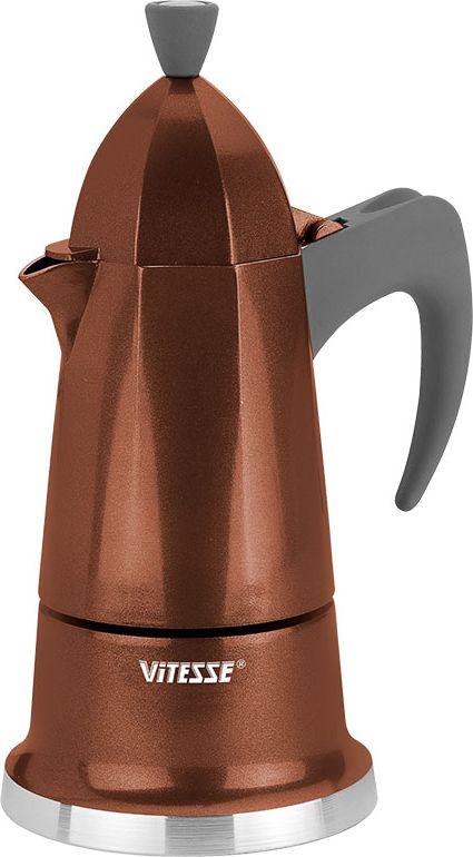 Кофеварка-эспрессо Vitesse на 6 чашек, цвет: коричневыйFS-91909Теперь и дома вы сможете насладиться великолепным эспрессо благодаря кофеварке Vitesse, которая позволит вам приготовить ароматный напиток на 6 персон. Новый стильный дизайн кофеварки станет ярким элементом интерьера вашего дома!Корпус кофеварки изготовлен из высококачественного алюминия, ручка - жаропрочная бакелитовая. Кофеварка состоит из двух соединенных между собой емкостей. В нижнюю емкость наливается вода, в эту же емкость устанавливается фильтр-сифон, в который засыпается кофе. К нижней емкости прикручивается верхняя емкость, после чего кофеварка ставится на электроплитку, и через несколько минут кофе начинает брызгать в верхний контейнер и осаждаться. Кофе получается крепкий и насыщенный.Инструкция по эксплуатации кофеварки прилагается. Можно мыть в посудомоечной машине. Характеристики:Материал:высококачественный алюминий, пластик. Высота кофеварки:25 см. Диаметр кофеварки по верхнему краю:6,5 см. Диаметр основания:11,5 см. Размер упаковки:26 см х 13,5 см х 12 см.Изготовитель:Китай. Артикул:VS-2601. Посуда Vitesse обладает выдающимися функциональными свойствами. Легкие в уходе кастрюли и сковородки имеют плотно закрывающиеся крышки, которые дают возможность готовить с малым количеством воды и экономией энергии, и идеально подходят для всех видов плит: газовых, электрических, стеклокерамических и индукционных. Конструкция дна посуды гарантирует быстрое поглощение тепла, его равномерное распределение и сохранение. Великолепно отполированная поверхность, а также многочисленные конструктивные новшества, заложенные во все изделия Vitesse, позволит Вам открыть новые горизонты приготовления уже знакомых блюд. Для производства посуды Vitesseиспользуются только высококачественные материалы, которые соответствуют международным стандартам.