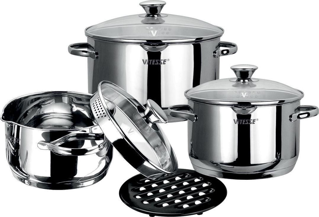Набор посуды Vitesse Abby, 7 предметов. VS-156154 009312Набор посуды Vitesse Abby, изготовленный из высококачественной нержавеющей стали 18/10 с зеркальной полировкой, состоит из трех кастрюль с крышками объемами 6,3 л, 3,2 л, 2,3 л и подставки под горячее. Он прекрасно подойдет для вашей кухни. Кастрюли имеют многослойное термоаккумулирующее дно с прослойкой из алюминия, что обеспечивает равномерное распределение тепла.На внутренней стороне кастрюль имеется шкала литража, что обеспечивает дополнительное удобство при приготовлении пищи.Литые ручки, крепящиеся к корпусу посуды заклепками, обеспечивают удобство при эксплуатации.Прозрачные крышки, выполненные из термостойкого стекла с клапаном для выпуска пара, позволяют следить за процессом приготовления.Подставка под горячее выполнена из бакелита черного цвета. Прочная бакелитовая подставка на низких ножках позволит разместить кастрюлю в удобном для вас месте.На кромке кастрюль имеются два носика для слива воды, расположенные друг напротив друга. На крышках также имеются отверстия для слива.Набор подходит для газовых, электрических, стеклокерамических и индукционных плит и пригоден для мытья в посудомоечной машине. Характеристики: Материал:нержавеющая сталь, бакелит. Внешний диаметр кастрюли объемом 6,3 л:24,5 см. Внутренний диаметр кастрюли объемом 6,3 л:24 см. Высота кастрюли объемом 6,3 л:14 см. Ширина кастрюли объемом 6,3 л, с учетом ручек:30,5 см. Внешний диаметр кастрюли объемом 3,2 л:20,5 см. Внутренний диаметр кастрюли объемом 3,2 л:20 см. Высота кастрюли объемом 3,2 л: 10,5 см. Ширина кастрюли объемом 3,2 л, с учетом ручек: 26,5 см. Внешний диаметр кастрюли объемом 2,3 л:18,5 см. Внутренний диаметр кастрюли объемом 2,3 л:18 см. Высота кастрюли объемом 2,3 л: 9,5 см. Ширина кастрюли объемом 2,3 л, с учетом ручек: 24,5 см. Диаметр подставки под горячее: 16,5 см. Размер упаковки: 32 см х 26,5 см х 25,5 см. Изготовитель: Китай. Артикул: VS-1561.Кухонная посуда марки Vitesseиз нержавеющей стали 18/10 предоставит 