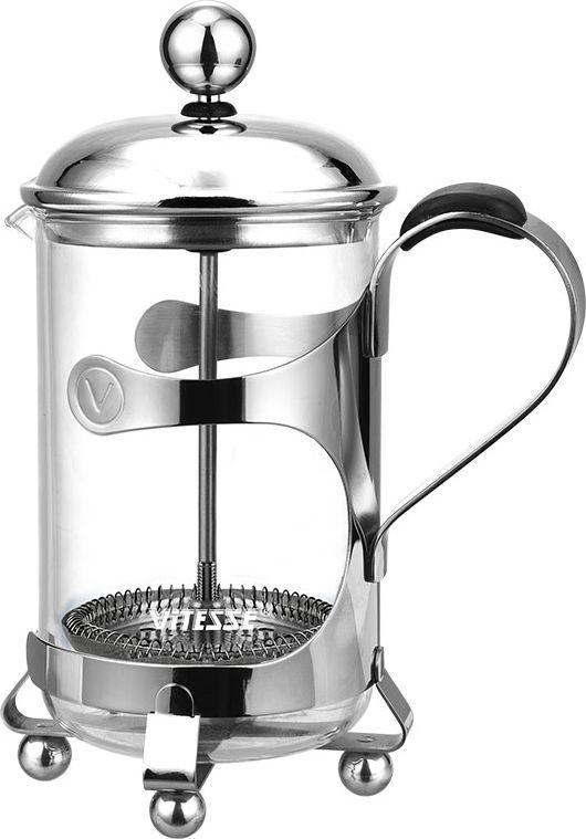 Кофеварка френч-пресс Vitesse Margeret, 0,6 л. VS-180168/5/4Кофеварка Vitesse Margeret с фильтром френч-пресс поможет вам в приготовлении ароматного кофе.Кофеварка выполнена из термостойкого стекла и высококачественной нержавеющей стали 18/10 с зеркальной полировкой, которая обеспечивает безупречный внешний вид изделия, легкую очистку после использования и долгий срок службы. В комплект входит мерная ложечка, выполненная из пластика. Уникальный дизайн полностью соответствует последним модным тенденциям в создании предметов бытовой техники.Настоящим ценителям натурального кофе широко известны основные и наиболее часто применяемые способы его приготовления: эспрессо, по-турецки, гейзерный. Однако существует принципиально иной способ, известный как french press, благодаря которому приготовление ароматного напитка стало гораздо проще.Метод french press прост: в теплый кофейник насыпают кофе грубого помола и заливают горячей водой. После того, как напиток настоится 3-5 минут, гущу отделяют поршнем с сеткой - и кофе готов! Эксперты считают, что такой способ позволяет получить максимально ароматный и нежный кофе - ведь он не перегревается, не подвергается воздействию высокого давления и не проходит через бумажный фильтр. Результат - напиток с максимально чистым вкусом. Характеристики:Материал:нержавеющая сталь 18/10, стекло, резина, пластик. Высота кофеварки (без учета крышки):16 см. Диаметр основания:8,5 см. Объем кофеварки:0,6 л. Длина ложечки: 10 см. Размер упаковки: 14 см х 21,5 см х 10,5 см.Изготовитель: Китай. Артикул:VS-1801. Кухонная посуда марки Vitesseиз нержавеющей стали 18/10 предоставит вам все необходимое для получения удовольствия от приготовления пищи и принесет радость от его результатов. Посуда Vitesseобладает выдающимися функциональными свойствами. Легкие в уходе кастрюли и сковородки имеют плотно закрывающиеся крышки, которые дают возможность готовить с малым количеством воды и экономией энергии, и идеально подходят для всех видов плит: газовых, электри