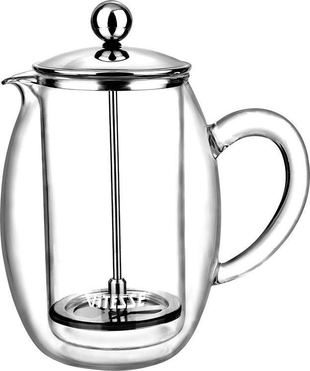 Кофеварка френч-пресс Vitesse Esther, 0,4 л. VS-1847115510Кофеварка Vitesse Esther с фильтром френч-пресс поможет вам в приготовлении ароматного кофе.Кофеварка выполнена из термостойкого стекла в две стенки и высококачественной нержавеющей стали 18/10 с зеркальной полировкой, которая обеспечивает безупречный внешний вид изделия, легкую очистку после использования и долгий срок службы. Уникальный дизайн полностью соответствует последним модным тенденциям в создании предметов бытовой техники.Настоящим ценителям натурального кофе широко известны основные и наиболее часто применяемые способы его приготовления: эспрессо, по-турецки, гейзерный. Однако существует принципиально иной способ, известный как french press, благодаря которому приготовление ароматного напитка стало гораздо проще.Метод french press прост: в теплый кофейник насыпают кофе грубого помола и заливают горячей водой. После того, как напиток настоится 3-5 минут, гущу отделяют поршнем с сеткой - и кофе готов! Эксперты считают, что такой способ позволяет получить максимально ароматный и нежный кофе - ведь он не перегревается, не подвергается воздействию высокого давления и не проходит через бумажный фильтр. Результат - напиток с максимально чистым вкусом. Характеристики:Материал:нержавеющая сталь 18/10, стекло. Высота кофеварки (без учета крышки):13 см. Диаметр основания:7 см. Объем кофеварки:0,4 л. Размер упаковки: 14,5 см х 19 см х 11 см.Изготовитель: Китай. Артикул:VS-1847. Кухонная посуда марки Vitesseиз нержавеющей стали 18/10 предоставит вам все необходимое для получения удовольствия от приготовления пищи и принесет радость от его результатов. Посуда Vitesseобладает выдающимися функциональными свойствами. Легкие в уходе кастрюли и сковородки имеют плотно закрывающиеся крышки, которые дают возможность готовить с малым количеством воды и экономией энергии, и идеально подходят для всех видов плит: газовых, электрических, стеклокерамических и индукционных. Конструкция дна посуды гарантирует быстрое поглоще