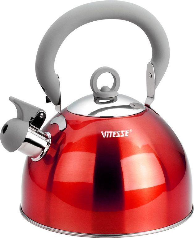 Чайник Vitesse Hanya со свистком, цвет: красный, 2,5 л115510Чайник Vitesse Hanya выполнен из высококачественной нержавеющей стали 18/10. Капсулированное дно с прослойкой из алюминия обеспечивает наилучшее распределение тепла. Носик чайника оснащен откидной насадкой-свистком, что позволит вам контролировать процесс подогрева или кипячения воды. Чайник имеет элегантное цветное покрытие корпуса. Подвижная ручка чайника изготовлена из нержавеющей стали с силиконовым покрытием. Чайник Vitesse Hanya подходит для использования на всех типах плит. Также изделие можно мыть в посудомоечной машине. Характеристики: Материал: нержавеющая сталь 18/10, силикон.Диаметр основания чайника: 20 см.Высота чайника (с учетом крышки и ручки):25 см.Объем:2,5 л.Размер упаковки:20,5 см х 20,5 см х 17,5 см. Изготовитель:Китай. Артикул:VS-1114.Кухонная посуда марки Vitesseиз нержавеющей стали 18/10 предоставит вам все необходимое для получения удовольствия от приготовления пищи и принесет радость от его результатов. Посуда Vitesse обладает выдающимися функциональными свойствами. Легкие в уходе кастрюли и сковородки имеют плотно закрывающиеся крышки, которые дают возможность готовить с малым количеством воды и экономией энергии, и идеально подходят для всех видов плит: газовых, электрических, стеклокерамических и индукционных. Конструкция дна посуды гарантирует быстрое поглощение тепла, его равномерное распределение и сохранение. Великолепно отполированная поверхность, а также многочисленные конструктивные новшества, заложенные во все изделия Vitesse, позволит вам открыть новые горизонты приготовления уже знакомых блюд. Для производства посуды Vitesseиспользуются только высококачественные материалы, которые соответствуют международным стандартам.