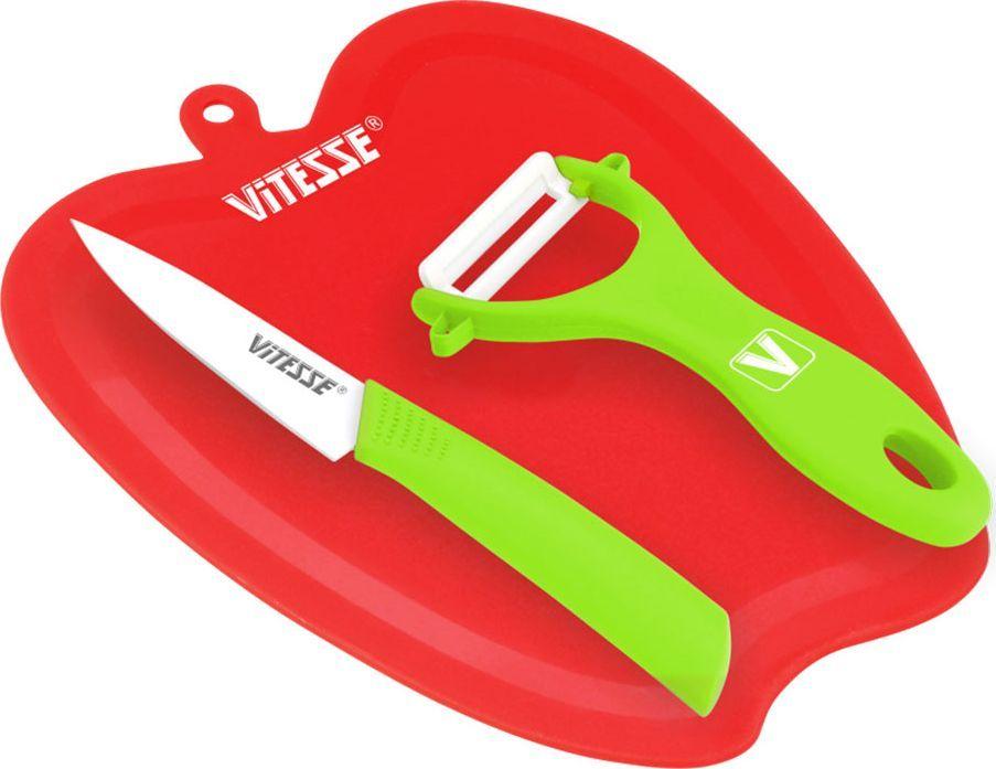 Кухонный набор Vitesse, цвет: красный, зеленый, 3 предмета54 009303Кухонный набор Vitesse состоит из овощечистки, ножа и разделочной доски. Лезвие овощечистки изготовлено из керамики. Удобная ручка, выполненная из прорезиненного покрытия, не позволит выскользнуть овощечистке из вашей руки. Благодаря небольшой петле можно повесить изделие на кухне. Лезвие ножа выполнено из высококачественной стали с покрытием Non-Stick. Так же ручка покрыта прорезиненым покрытием. Разделочная доска, изготовленная из прочного пластика, выполнена в виде яблока.Оригинальный дизайн кухонного набора Vitesse и качество исполнения не оставят равнодушными ни тех, кто любит готовить, ни опытных профессионалов-поваров.Длина овощечистки: 13 см.Общая длина ножа: 19 см.Длина лезвия ножа: 9 см.Размер доски: 22 х 18 х 0,4 см.