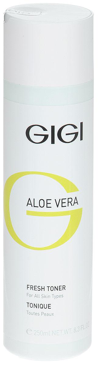 GIGI Тоник освежающий Aloe Vera, 250 млGIGI9Успокаивающий противовоспалительный лосьон для лица. Увлажняет и смягчает кожу, придает ощущение свежести. Снимает раздражение и напряжение кожи. Активные ингредиенты: алоэ вера, экстракт водорослей, экстракт полыни пустынной, масло мирры.