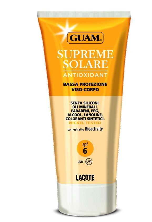 Guam Солнцезащитный крем SPF 6 Solare, 150 мл0759Крем эффективно защищающих кожу сразу от двух типов ультрафиолетового излучения: UVA и UVB. Масло риса, жожоба и витамин Е оказывают регенерирующее и заживляющее действие, являясь эффективными для любого типа кожи.