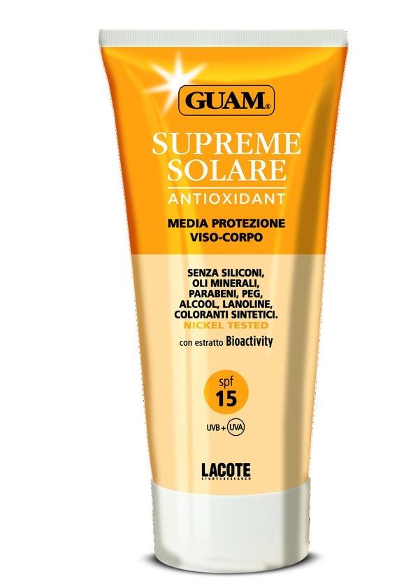 Guam Солнцезащитный крем SPF 15 Solare, 150 мл0766Крем содержит в своем составе комбинацию физических и химических фильтров, эффективно защищающих кожу сразу от двух типов ультрафиолетового излучения: UVA и UVB.