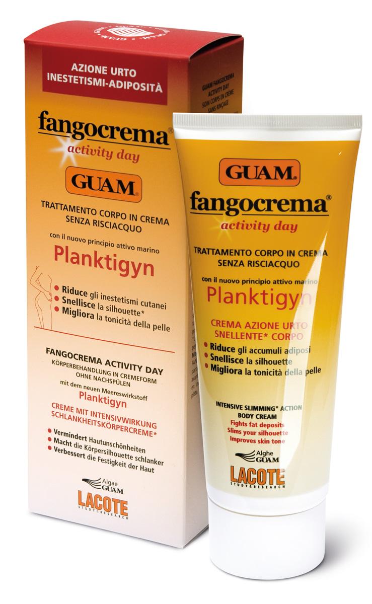 Guam Крем дневной активный Planktigyn на основе грязи Fangocrema, 200 мл.2793Несмываемый крем для ухода за телом. При постоянном использовании способствует похудению, уменьшает дефекты кожи в зонах, где есть жировые отложения и повышает упругость, воссанавливает тонус и сияние. Наибольшие результаты получаются ,если продукт применять перед физическими нагрузками