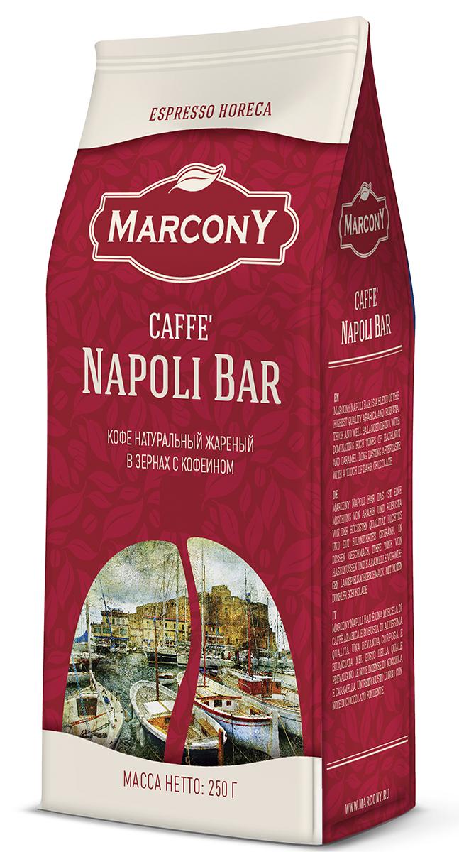 """Marcony Napoli Bar Espresso кофе в зернах, 250 г0120710Особенность кофе """"Napoli Bar"""" в специфическом подходе к обработке кофейных зёрен. Кофейную смесь составляют из сортов высокогорной арабики – 70% и робусты - 30%. Зёрна для неаполитанского кофе обжаривают немного сильнее, чем для других смесей. Затем зёрна обрабатываются эссенцией, придающей им особый ярко выраженный аромат. В результате приготовления эспрессо получается плотный и достаточно насыщенный напиток с нотками лесных орехов и карамели."""