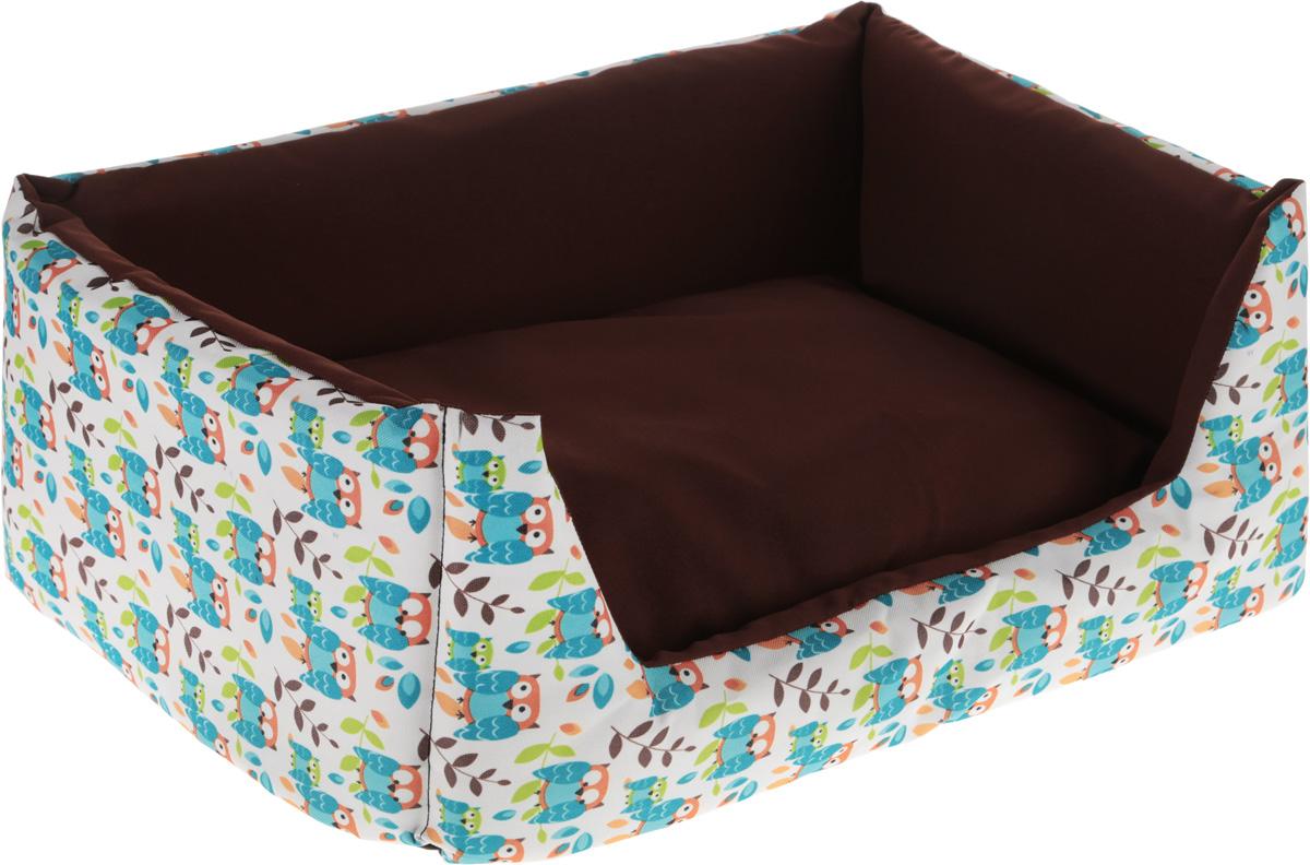 Лежак для собак и кошек GLG Емеля, 60 х 40 х 20 см0120710Лежак GLG Емеля предназначен для собак мелких пород и кошек. Выполнен из полиэстера с ярким принтом в виде сов, внутренняя отделка из хлопковой ткани. Благодаря наполнителю из поролона лежак прекрасно держит форму. Лежак очень удобный и уютный, он оснащен высокими бортиками и мягкой синтепоновой подстилкой, на которой вашему питомцу будет уютно и комфортно отдыхать. Компактные размеры позволят поместить лежак, куда угодно, а приятная цветовая гамма сделает его оригинальным дополнением к любому интерьеру. Ваш любимец сразу же захочет забраться на лежак, там он сможет отдохнуть и подремать в свое удовольствие.