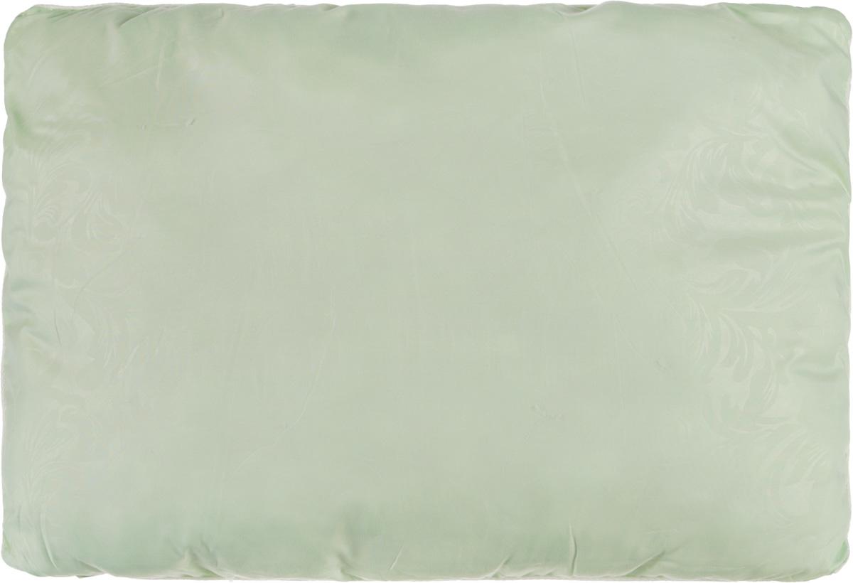 Подушка Smart Textile Безмятежность, наполнитель: лебяжий пух, бамбук, цвет: светло-зеленый, 50 х 70 смU210DFУдобная и мягкая подушка Smart Textile Безмятежность подарит здоровый сон и отличный отдых. Чехол подушки на молнии выполнен из микрофибры с красивым узором. В качестве наполнителя используется лебяжий пух с добавлением бамбукового волокна. Подушка мягкая, легкая и воздушная, бамбуковый наполнитель напоминает вату или синтепон. Лебяжий пух - это 100% сверхтонкое высокосиликонизированное волокно. Такой наполнитель мягкий и приятный на ощупь. Гипоаллергенное волокно бамбука легко пропускает воздух и не вызывает потливости. Оно мгновенно впитывает влагу и быстро высыхает, что особенно важно в летний зной. Подушка удобна в эксплуатации: легко стирается, быстро сохнет, сохраняя первоначальные свойства, устойчива к воздействию прямых солнечных лучей, износостойка и прочна. Подушка не накапливает запахов и не требует химчистки. Подушка упруга, великолепно держит форму, а также отличается достаточной жесткостью. Сон на такой подушке не принесет болей в шее и позвоночнике. Изделие также обладает высокой теплоизоляционной способностью - не вызывает перегрева головы.