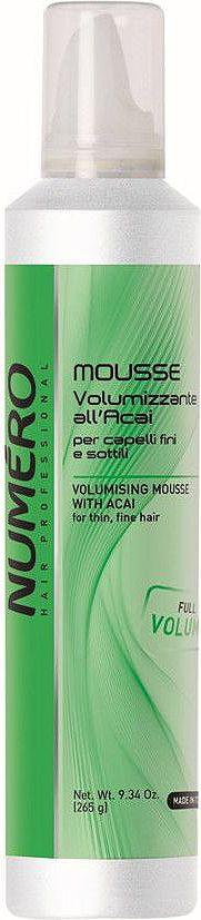 Brelil Numero Volume Мусс для придания объема с экстрактом ягод асаи 250 млB080120Мусс для придания объёма тонким и ослабленным волосам, имеющий мягкую консистенцию, легко распределяется по волосам и позволяет на продолжительное время увеличить объём причёски.