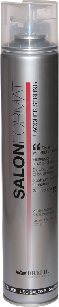 Brelil Salon Format Fixing Spray Strong Лак сильной фиксации 500 млB201006Незаменимая вещь в любом салоне красоты – лак для волос Brelil Salon Format Fixing Spray Extra Strong для создания прически сильной фиксации.