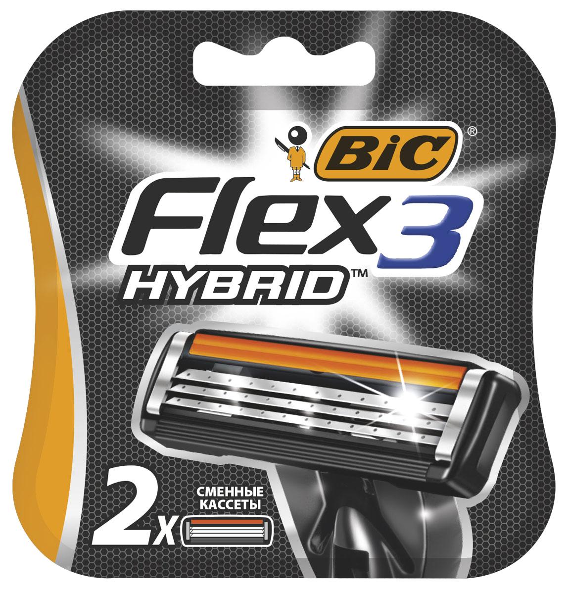 Bic Flex 3 Hybrid Сменные кассеты для бритья, 2 штMCT-75070382_новый дизайнТри высококачественных лезвия, плавающих независимо друг от друга. Хромо-полимерное покрытие лезвий. Более широкий резиновый предохранитель.