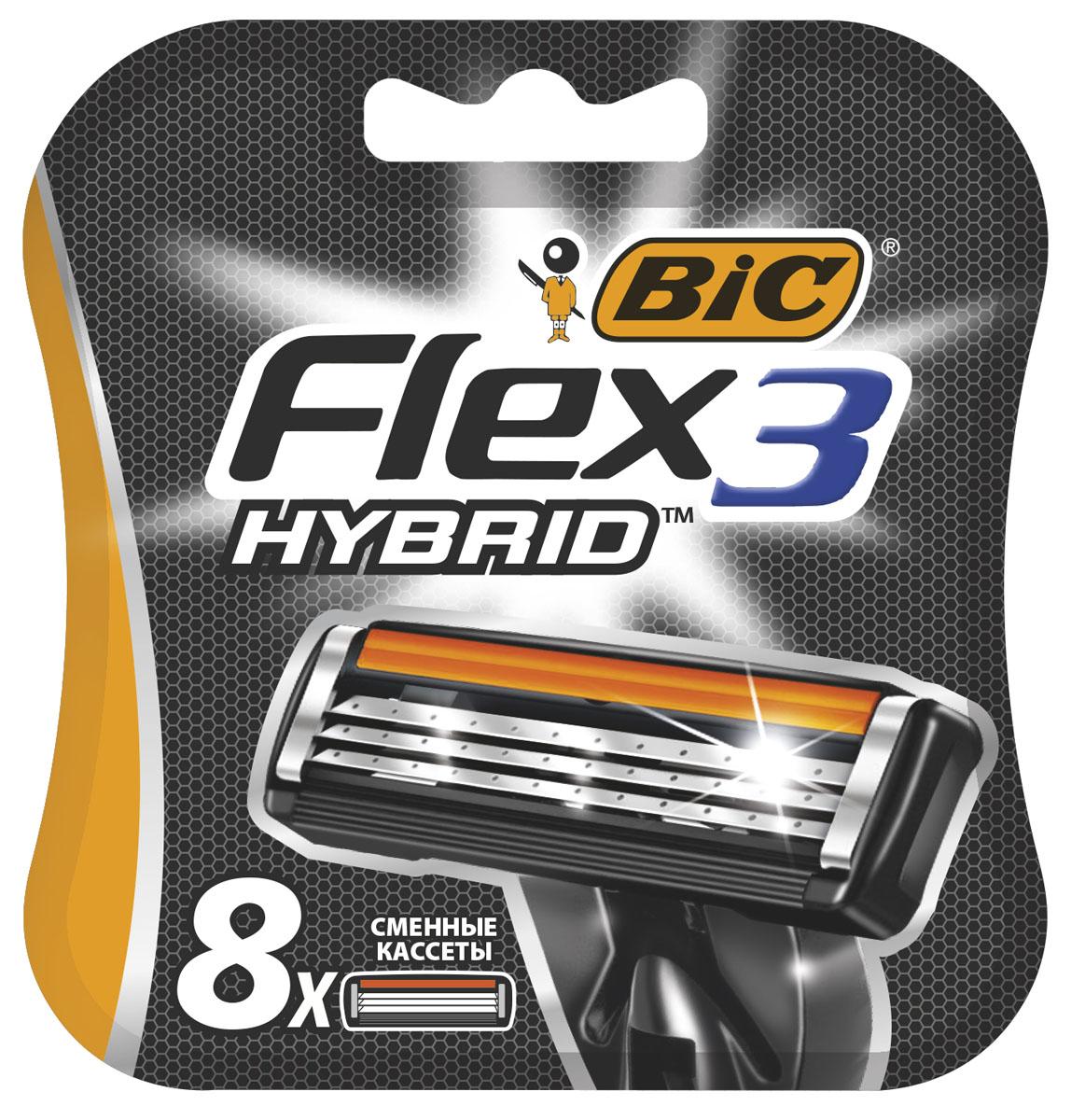 Bic Flex 3 Hybrid Сменные кассеты для бритья, 8 штMe Chic 120KТри высококачественных лезвия, плавающих независимо друг от друга. Хромо-полимерное покрытие лезвий. Более широкий резиновый предохранитель.