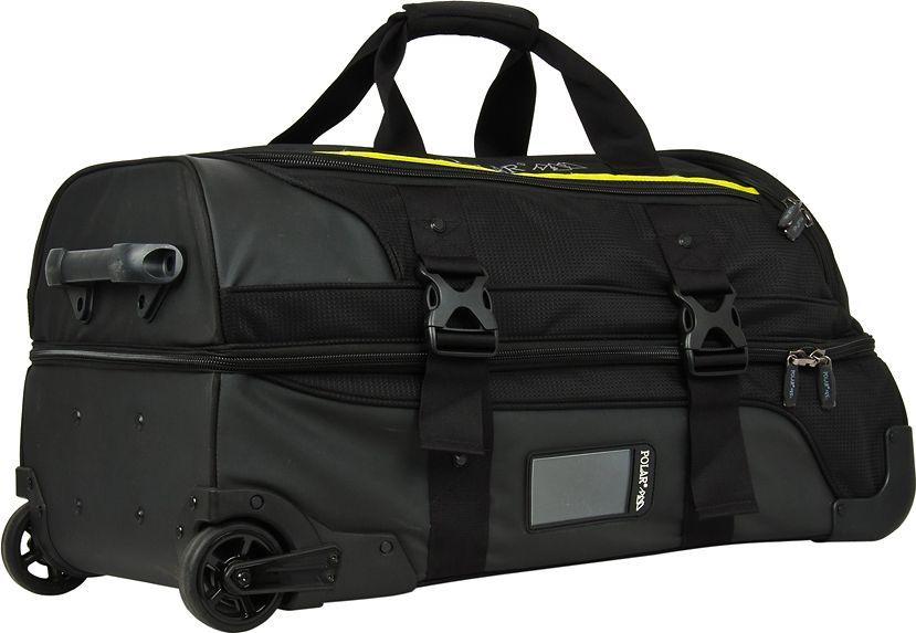 Cумка дорожная Polar, на колесах, цвет: черный, 87 л. Д1413MABLSEH10001Дизайн дорожной сумки Polar выполнен в духе современных цветовых тенденций молодежной моды. Сумка состоит из одного большого вместительного отделения, которое поделено на две части и закрывается на двухстороннюю застежку – молнию. Внутри - большой карман на сетке, фиксаторы с зажимами для ваших вещей. Карман сбоку сумки под обувь. Выдвижная ручка с удобной рукояткой, выдвигается на 35 см. Устойчивые колёса на подшипниках диаметр 8 см. Вертикальная и горизонтальная ручка для переноски. У данной сумки отсутствует плечевой ремень.