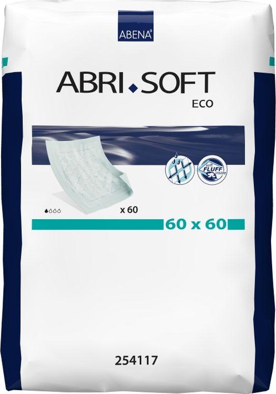 Abena Пеленки впитывающие Abri-Soft Eco 60 х 60 см 60 шт22122035Abena Впитывающие пеленки Abri-Soft Eco, 60 шт, впитываемость 700 г, размер 60X60 см