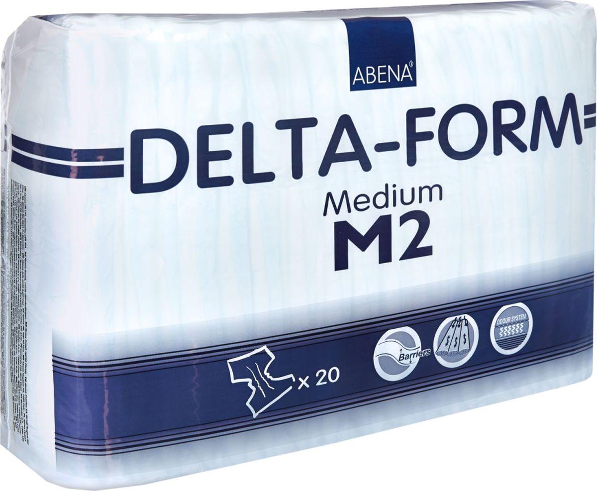 Abena Подгузники для взрослых Delta-Form M2 20 шт56052Abena Подгузники для взрослых Delta-Form M2, 20 шт, впитываемость 2200 г, размер 70-110 см