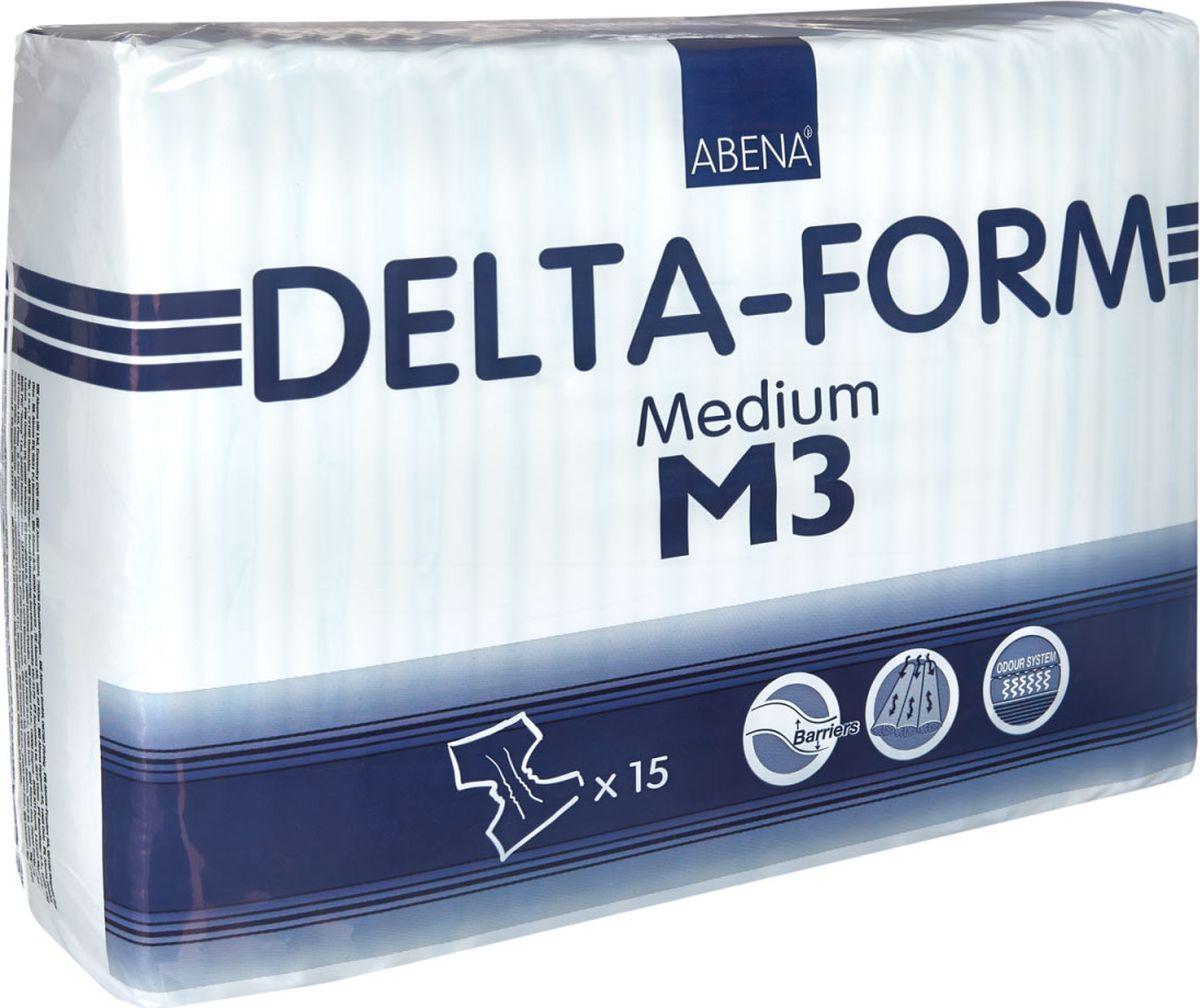Abena Подгузники для взрослых Delta-Form M3 15 шт22122035Abena Подгузники для взрослых Delta-Form M3, 15 шт, впитываемость 2800 г, размер 70-110 см