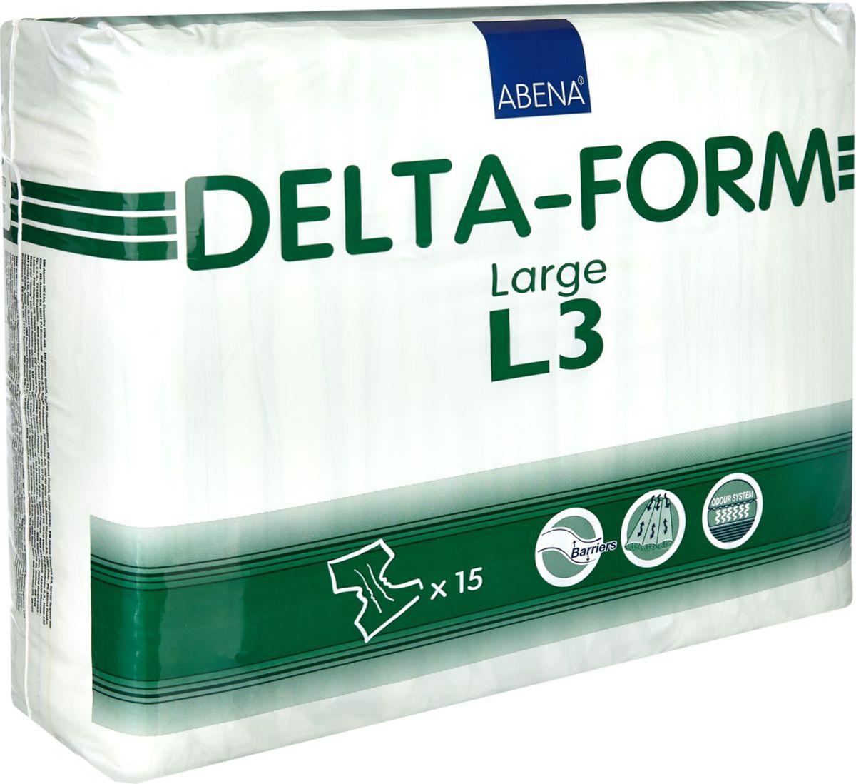 Abena Подгузники для взрослых Delta-Form L3 15 шт308873Подгузники для взрослых Abena Delta-Form созданы для ухода за пациентами, имеющими недержание мочи. Они имеют анатомическую форму, которая обеспечивает оптимальный комфорт и активность пациента. Внутренняя поверхность изготавливается из особого материала, который обеспечивает сухость, защиту кожи и проникновение влаги только в одну сторону. Благодаря наличию распределительного слоя TOP DRY влага впитывается очень быстро и минимально контактирует с кожей.Впитываемость 3200 г. Размер 100-150 см.