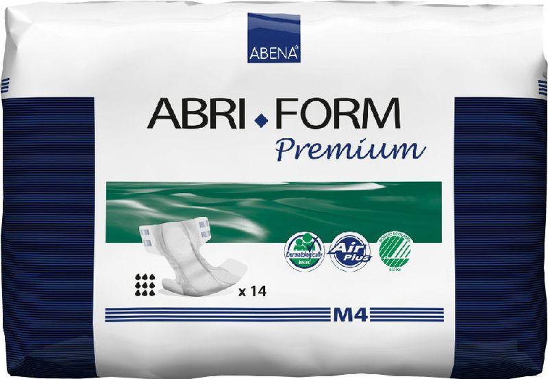 Abena Подгузники для взрослых Abri-Form Premium M4 14 шт43063Abena Abri-Form Premium - это премиум подгузники для взрослых с умеренной и тяжелой формами недержания. Отличия Abri-Form Premium:3 степени защиты от протеканий (уникальные впитывающие каналы, 6 слоев, высокие бортики, направленные внутрь подгузника)имеет дополнительную защиту от протеканий со спины (первые в России подгузники с кармашком, задерживающим жидкость)мягкие тянущиеся боковинки не оставляют следов на бедрах, в отличие от обычной резинкижидкость превращается в гель и не может вытечь7 дополнительных преимуществ:подгузник полностью дышащий;задерживает запахи;быстро впитывает за счет системы Top Dry (Топ Драй) и влагораспределяющих каналов;выполнен из мягких бесшумных материалов;имеет сегментированный индикатор намокания;отмечен экомаркировкой Скандинавии Белый лебедь;одобрен дерматологическим контролем.Впитываемость 3600 г. Размер: 70-110 см.