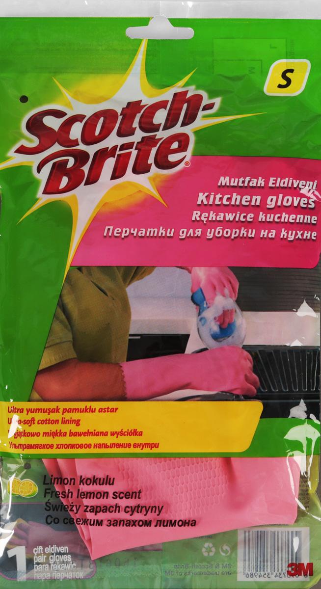 Перчатки для уборки на кухне Scotch-Brite, с запахом лимона. Размер SDAVC150Перчатки для уборки на кухне Scotch-Brite, изготовленные из натурального латекса, защитят руки от соприкосновения с чистящими и моющими средствами. Хлопковое напыление внутри впитывает влагу, оставляя кожу рук сухой. Эластичные и прочные перчатки специально предназначены для многократного использования. Имеют свежий аромат лимона.